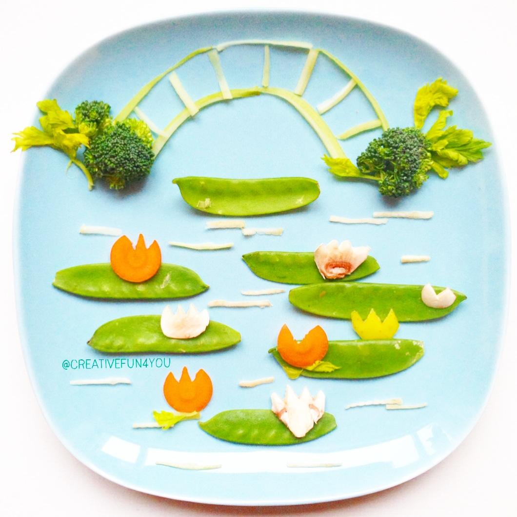Claude Monet-inspirert grønnsaksfat
